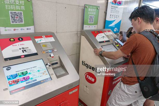 Spain, Barcelona, Sagrada Familia, metro station ticket machine.