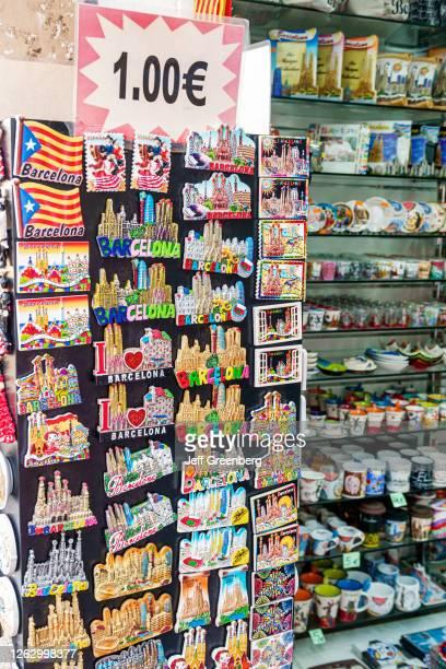 Spain, Barcelona, Sagrada Familia neighborhood, souvenir gift shop refrigerator magnets.