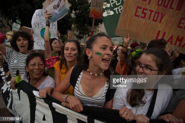 Spain, Barcelona, Sept. 27, 2019. People march during a worldwide protest demanding action on climate change in Barcelona, Spain. The demonstration...