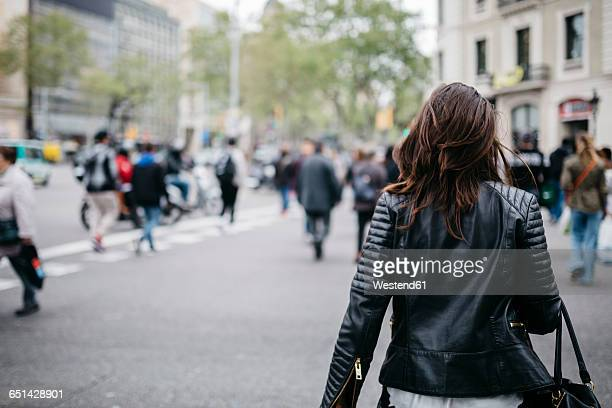 spain, barcelona, young woman in the city - leather jacket stock pictures, royalty-free photos & images