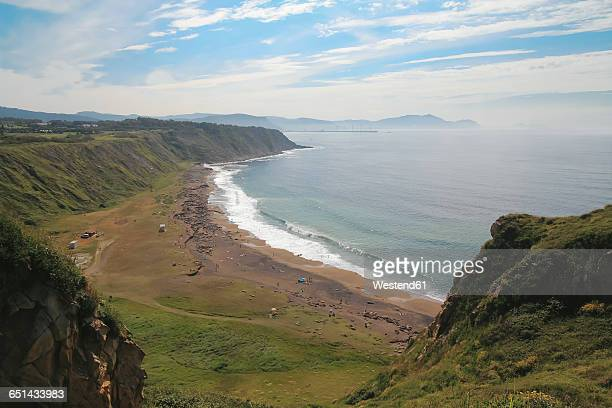 Spain, Basque Country, Getxo, Azkorri beach view from the cliff
