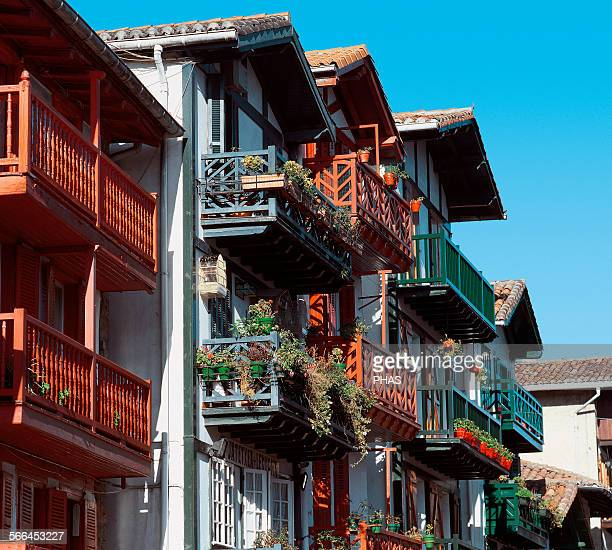 Spain Basque Country Hondarribia Balcony with flowerpots