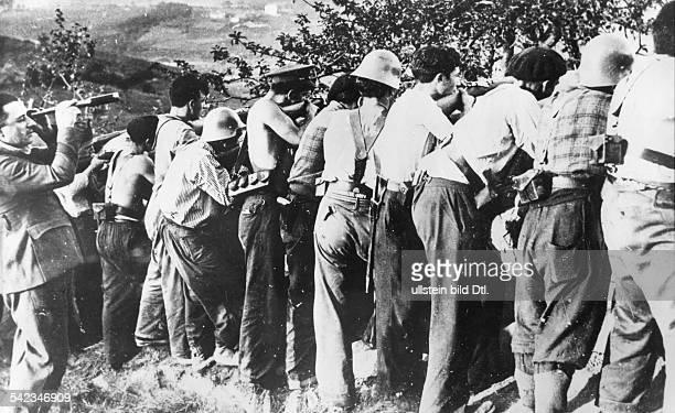 Spain Basque Country Pais Vasco Spanish Civil War Fightings around San Sebastian Irun position of the Republican troops late August 1936 Vintage...