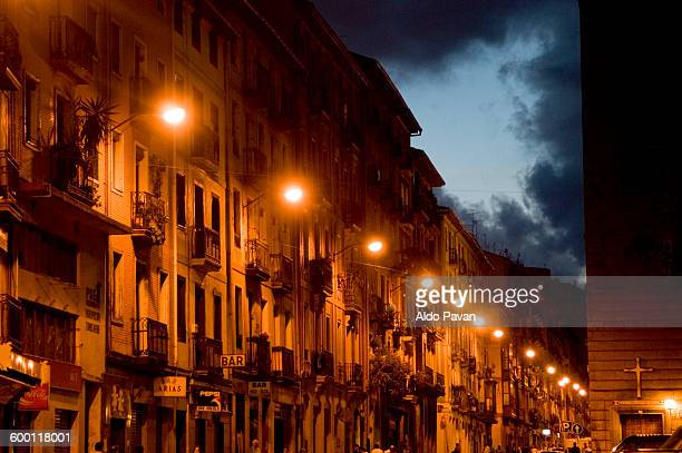 Spain, Bilbao, old town at night