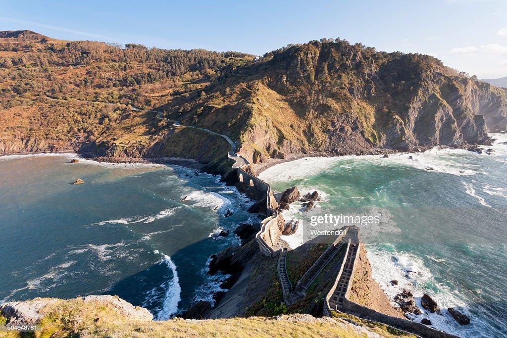 Spain, Biscay, Basque Country, Steps to the San Juan de Gaztelugatxe, chapel on a rocky island