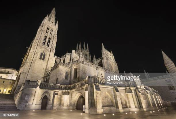 Spain, Burgos, Burgos cathedral at night