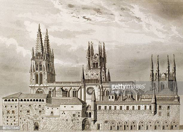 Spain Burgos Cathedral Gothic style Exterior Engraving