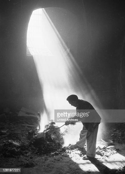 Spain, ca.1936, Toledo, Alkazar, Soltano cellar, destroyed books.