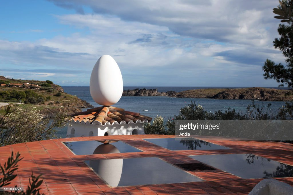 Museum-House of painter Salvador Dali in Portlligat. Outer view, architecture with an egg on the roof.
