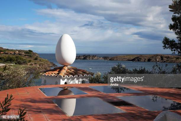 MuseumHouse of painter Salvador Dali in Portlligat Outer view architecture with an egg on the roof