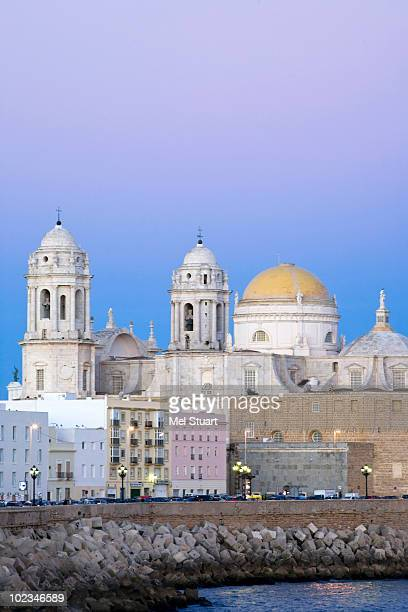 Spain, Cadiz, Cathedral illuminated at dusk