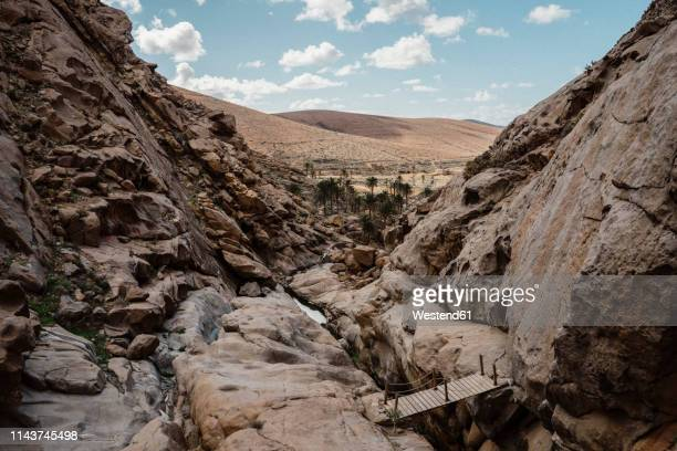 spain, canaray islands, fuerteventura, rock formations - cañón tipo de valle fotografías e imágenes de stock