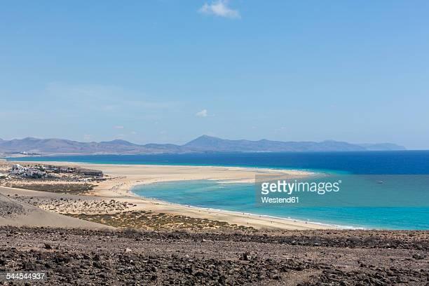 Spain, Canary Islands, Fuerteventura, Risco del Paso, view to Playa de Sotavento