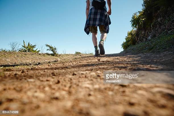 Spain, Canary Islands, La Gomera, hiker on trail