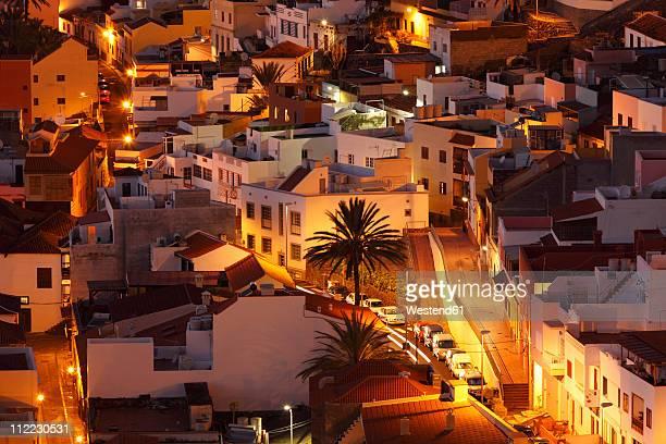 Spain, Canary Islands, La Gomera, San Sebastian, View of city at night