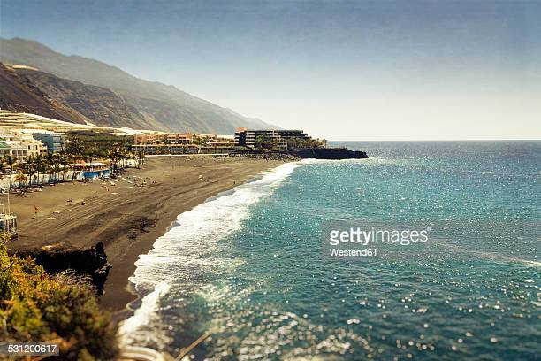 spain, canary islands, la palma, hotels at puerto naos beach - canary islands stock photos and pictures