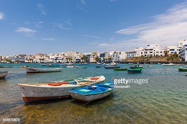 spain, canary islands, lanzarote, arrecife, view to charco de san gines - arrecife stock photos and pictures