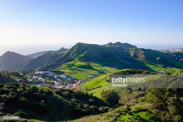 Spain, Canary islands, Tenerife, Anaga mountains, village Jardina near San Cristobal de La Laguna as seen from Mirador de Jardina