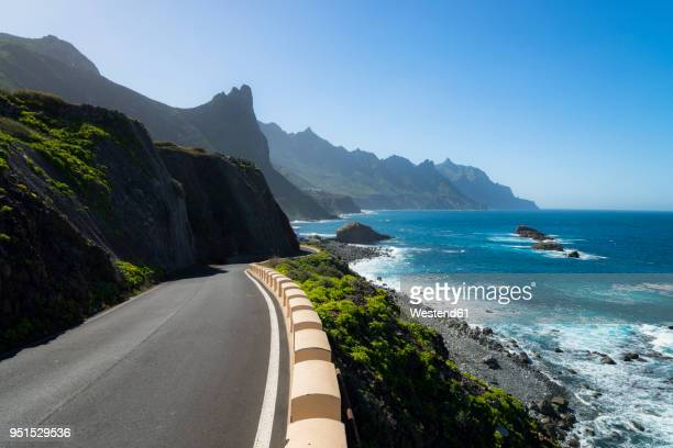 spain, canary islands, tenerife, coastal road tf-134 towards taganana - isla de tenerife fotografías e imágenes de stock