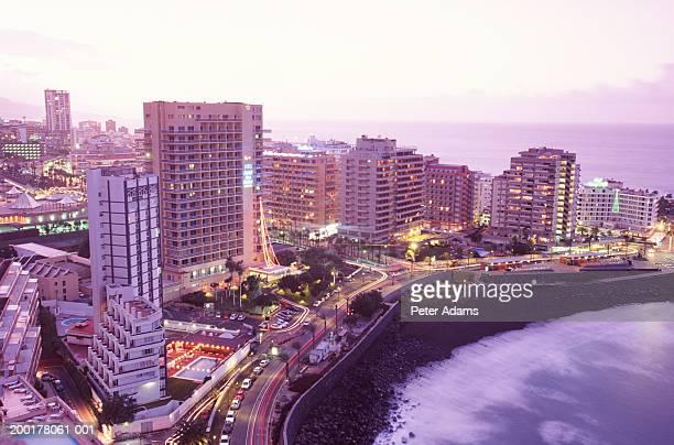 spain, canary islands, tenerife, puerto de la cruz, dusk - travel14 stock pictures, royalty-free photos & images