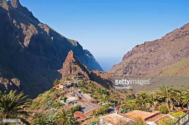 Spain, Canary Islands, Tenerife, Teno Mountains, Masca Gorge, View to mountain village Masca