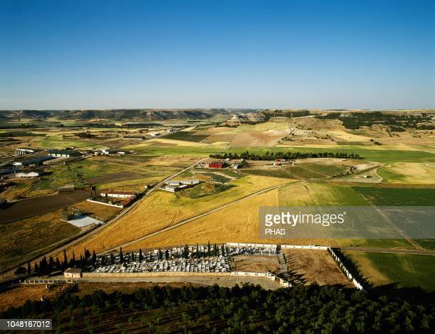 Spain Castile and Leon Province of Valladolid Panoramic view of the Castilian landscape with crops and moorlands from the castle of Pe–afiel