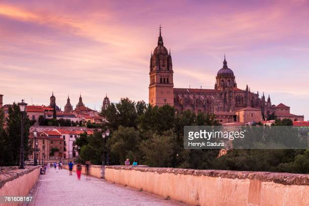spain, castile and leon, salamanca, catedral nueva de salamanca and roman bridge in long exposure - サラマンカ ストックフォトと画像