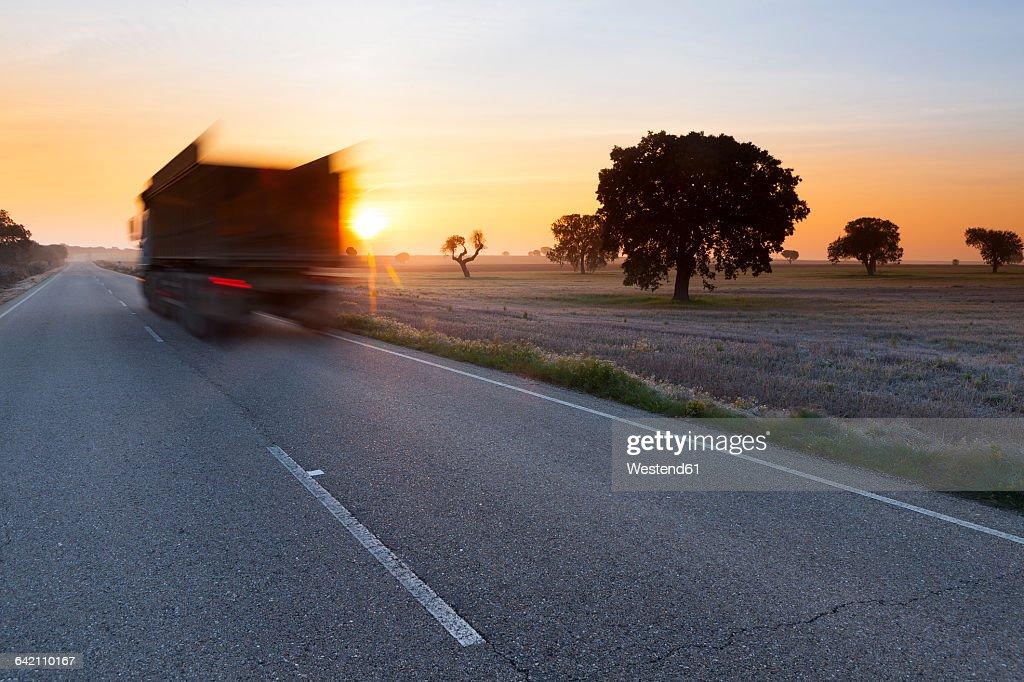 Spain, Castile and Leon, Zamora, Lagunas de Villafafila, Nature Reserve, road through wetland, truck : Stock Photo