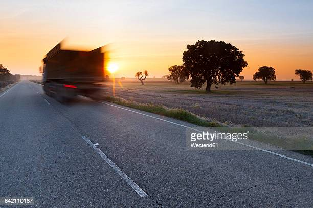 Spain, Castile and Leon, Zamora, Lagunas de Villafafila, Nature Reserve, road through wetland, truck