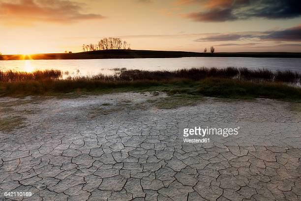Spain, Castile and Leon, Zamora, Lagunas de Villafafila, Nature Reserve, View of lagoon and wetland at sunset