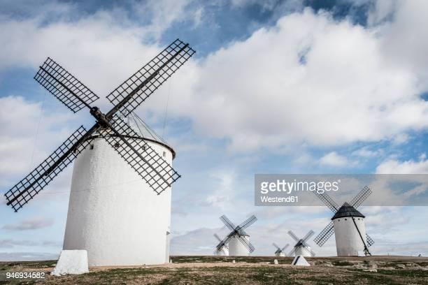 spain, castile-la mancha, campo de criptana, windmills - old windmill stock photos and pictures