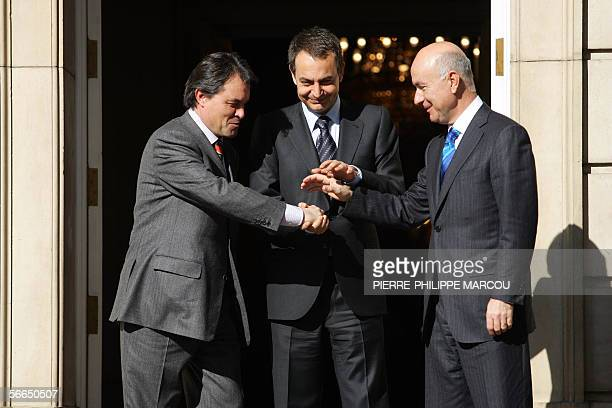 Catalan Convergence and Unity party leader Artur Mas, Spanish Prime Minister Jose Luis Rodriguez Zapatero and CiU spokesman Josep Antoni Duran Lleida...