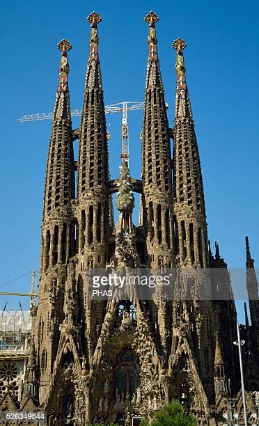 Spain Catalonia Barcelona Basilica and Expiatory Church of the Holy Family Architect Antonio Gaudi Modernism style Nativity facade