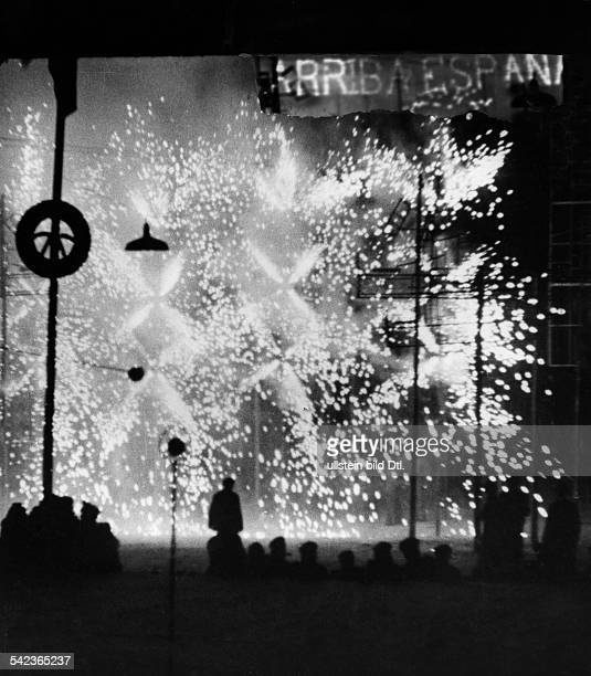 Spain Catalonia Barcelona Fireworks on the anniversary of the end of the Spanish Civil War and Franco's victory 1943 Photographer Wolfgang Weber...
