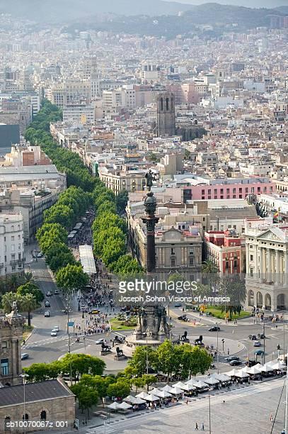 Spain, Catalonia, Barcelona, La Rambla and Columbus statue, aerial view