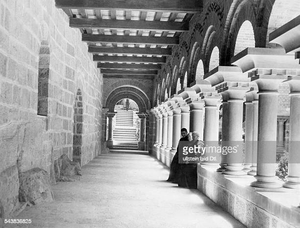 Spain Catalonia Barcelona Monks in the cloisters ot the Benedictine abbey Santa Maria de Montserrat Photographer Eduard Schlochauer Published by...