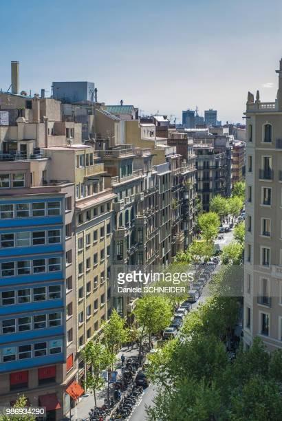 Spain, Catalonia, Barcelona, Passeig de Gracia, alignment of buildings with terraces