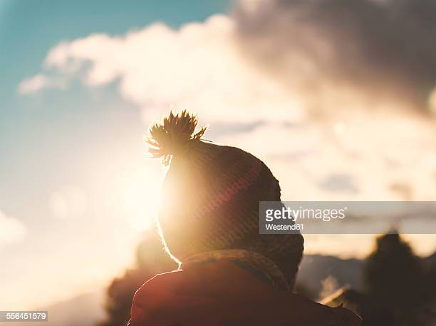 Spain, Catalonia, Cadi-Moixero Natural Park, man with woolly hat at sunset