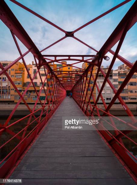 spain, catalonia, girona, old town, the eiffel bridge on the onyar river - gerona city stock pictures, royalty-free photos & images