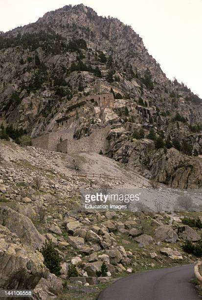 Spain Catalonia Parco Nacional D'Aiguestortes Y Sant Maurici Buildings Built Into Mountainside
