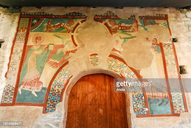 Romanesque Church of Sant Joan de Boi, in the village of Boi. Mural, detail of the Theophany of the north portal.