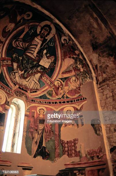 Spain Catalonia Taull Sant Climent De Taull Church Apse Frescoes Of Christ In Majesty Andsaints Romanesque 11001200 Unesco World Heritage Site