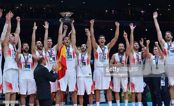 Spain celebrate after winning the EuroBasket 2015 Final match against Lithuania at the Pierre Mauroy Stadium in Lille on September 20 2015