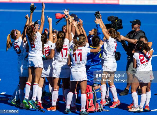 Spain celebrate at the end of the match during the Vitality Women's Hockey World Cup bronze medal match at The Lee Valley Hockey and Tennis Centre...