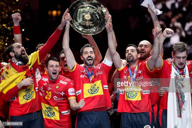 Spain celebrate on the podium after winning the Men's EHF EURO 2020 final match between Spain and Croatia at Tele2 Arena in Stockholm, Sweden on...