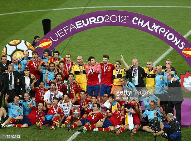 Spain celebrate their victory after the UEFA EURO 2012 final match between Spain and Italy at the Olympic Stadium on July 1 2012 in Kiev Ukraine