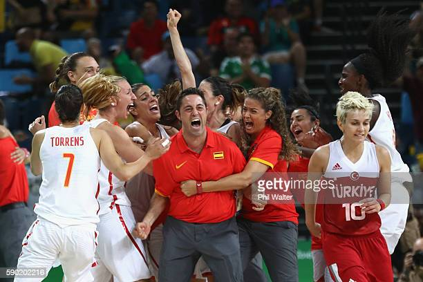 Spain celebrate victory on full time during the Women's Quarterfinal match between Spain and Turkey at Carioca Arena 1 on August 16 2016 in Rio de...