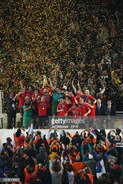 Spain celebrate winning the 2010 FIFA World Cup at Soccer City Stadium on July 11 2010 in Johannesburg South Africa