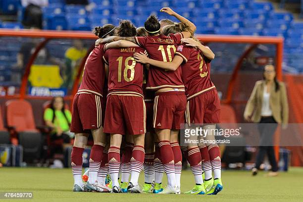 Spain celebrates a goal by Vicky Losada during the 2015 FIFA Women's World Cup Group E match against Costa Rica at Olympic Stadium on June 9 2015 in...