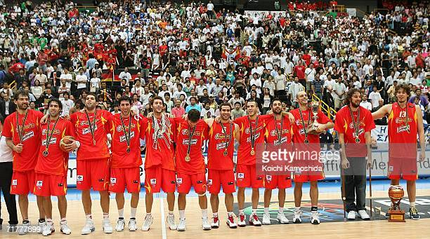 Spain celebrates after defeating Greece in the 2006 FIBA World Championship Final Round on September 3, 2006 at the Saitama Super Arena in Saitama,...